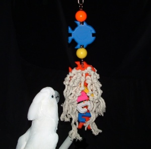 Marshmellow with her FunTime Birdy Bird Toy